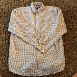 Chaps white w/ blue plaid long sleeve button down